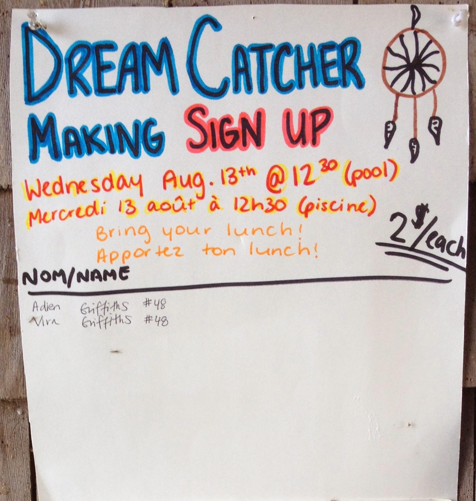 Dream Catcher Making – Mercredi 13 août à 12:30 (pool)